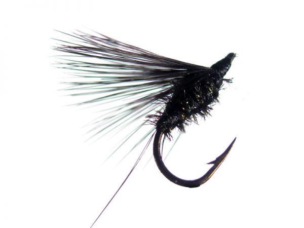 Mosca de León ahogada negra pavo real cm