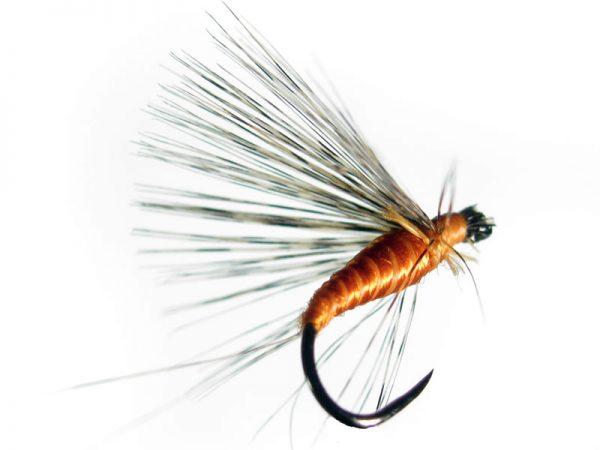 """Mosca de León ahogada La butano sin muerte está indicada para la pesca en la modalidad de mosca ahogada también conocida como """"pesca a la leonesa"""" o pesca con buldó. Mosca clásica leonesa. Montaje realizado sobre anzuelo sin muerte"""