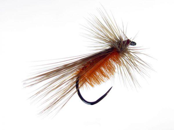 Mosca seca Tricóptero #12 pluma gallo de León sin muerte