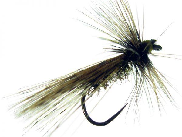 Tricóptero amarillo pavo real y con tejadillo montado con pluma de gallo de León indio rubión