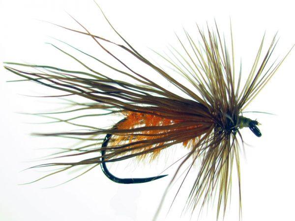 Tricóptero avestruz naranja y pelo de ciervo oscuro modelo 26